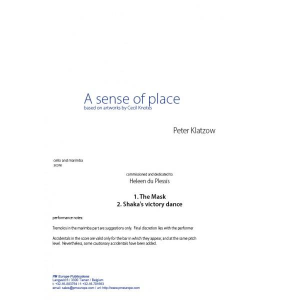 KLATZOW, P , A sense of place (cello and marimba) (score